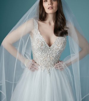 TAYLOR-maggie sottero-wedding dress with straps